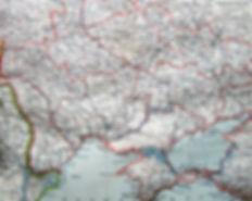 Южная Россия. (Современная Украина). Старинная цветная карта. Конец XIXв.