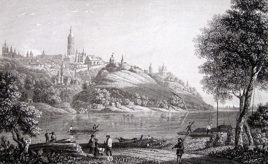 Киев, вид на Лавру из-за Днепра. Гравюра, середина XIX в.