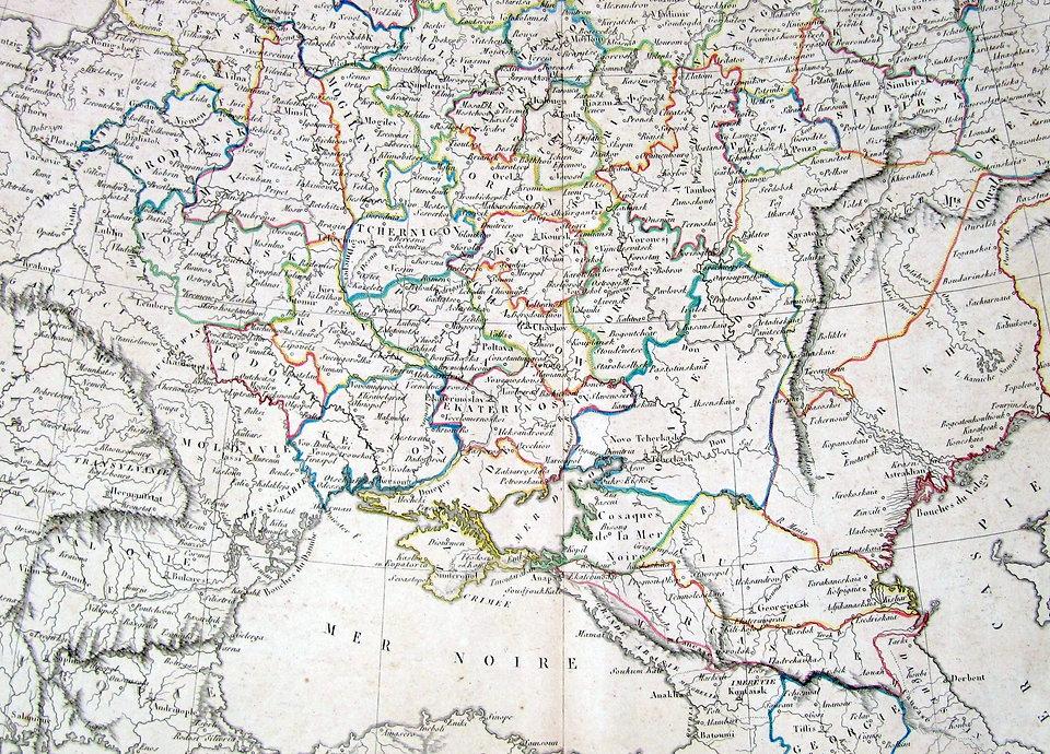 Украина (Южная Россия). Старинная карта. 1812 г.