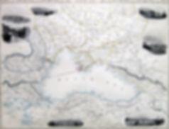 Черное море и окрестности. Старинная карта, середина XIX  в.