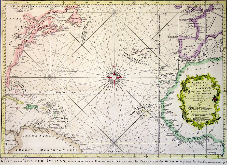 Атлантический океан.Старинная карта, 1746 г.