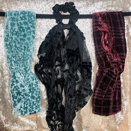 Velvet Burnout Pony Scarf or Headband