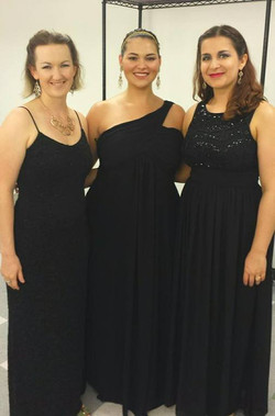 Porrima (CarrieAnne Winter), Situla (Hillary LaBonte), and Andromeda (Tanya Ruth), backstage at Silv