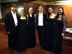 James Tung (violin), Mary Matthews (flute), Sarah Beske (cello), Adam Cordle (viola), Anyango Yarbo-