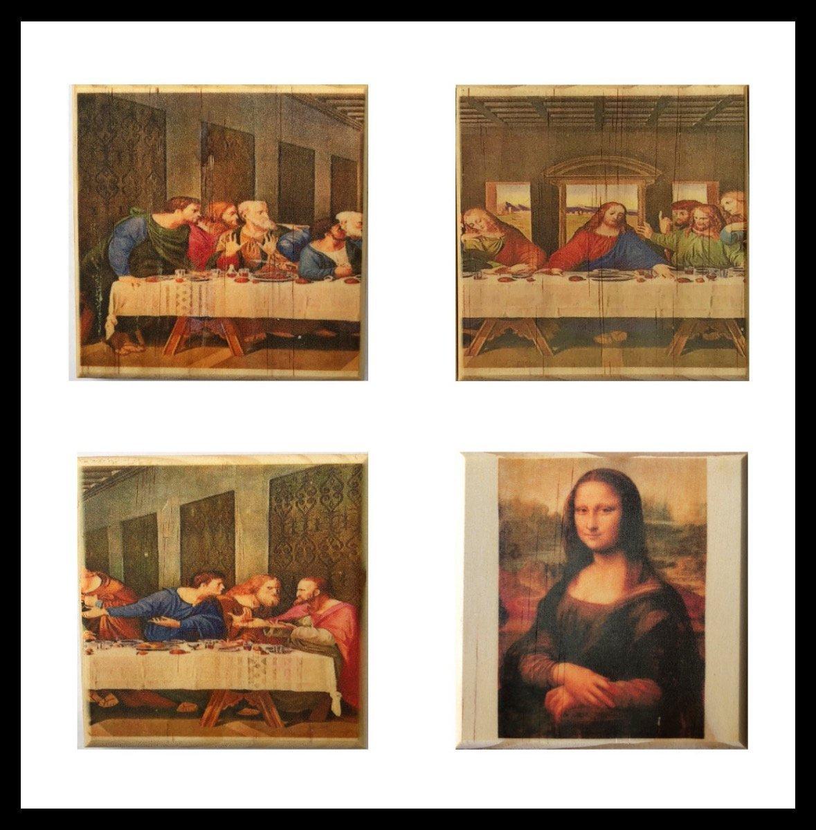 Leonardo da Vinci coaster set: The Last Supper and Mona Lis |  brindlesouthern