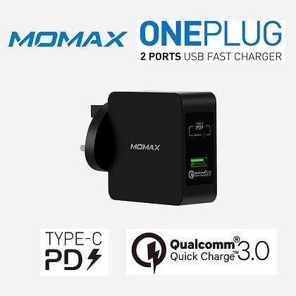 Momax ONE Plug (Type-C PD / QC3.0) 雙插口智能快速充電器