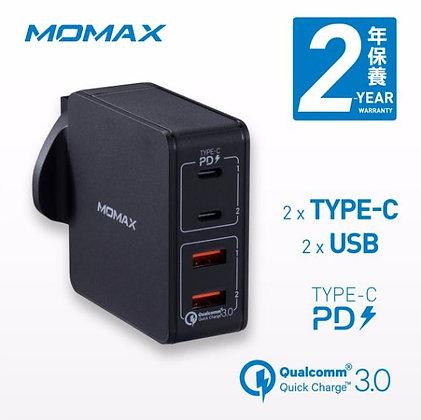 Momax One Plug 66W 雙PD 4插口快速充電器