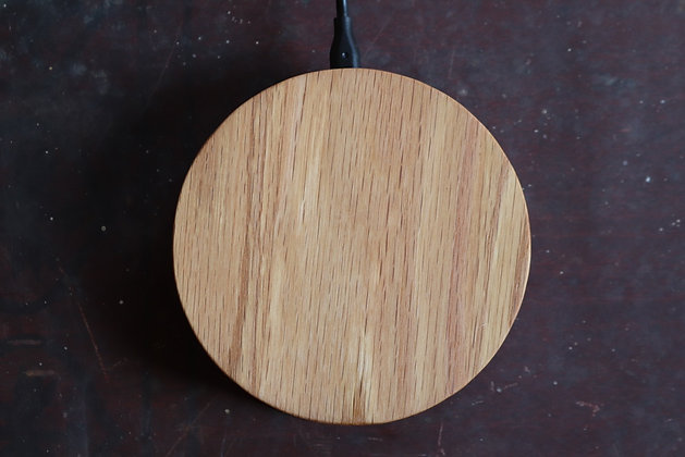 Hand-carved Oak Wireless Phone Charger