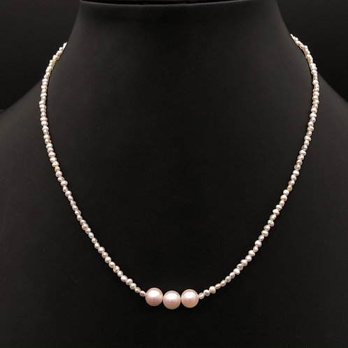 Keshi pearl and Akoya pearl Necklace