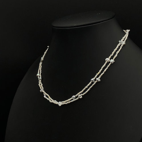Seed Pearl and Black spinel bead necklace