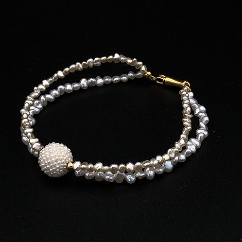 Double Strand Bracelet with Japanese Keshi Pearls and Woven Exseed  Bead