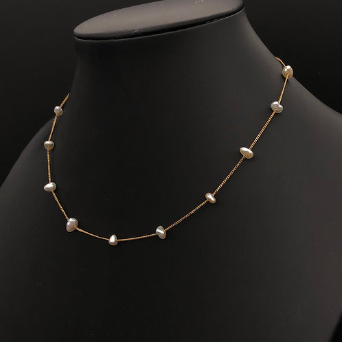 Large Japanese Akoya Keshi Pearls and Gold Necklace