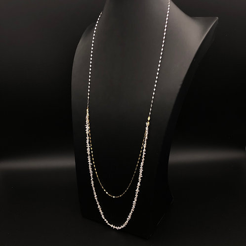 Two Strand Yellow and White Crushed Gold Keshi Necklace