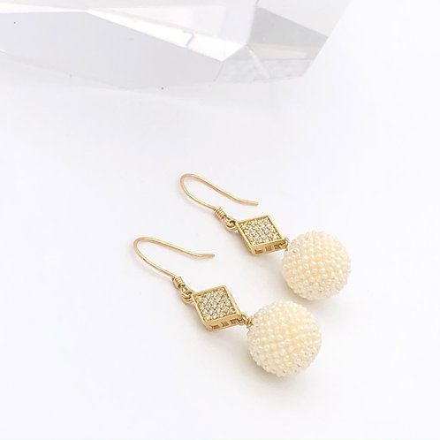 Exceed Ball Dangling with Diamonds Earrings
