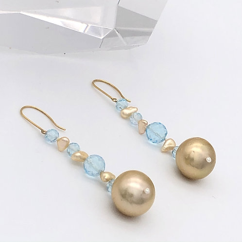 Golden Baroque Pearls and Blue Topaz Earrings
