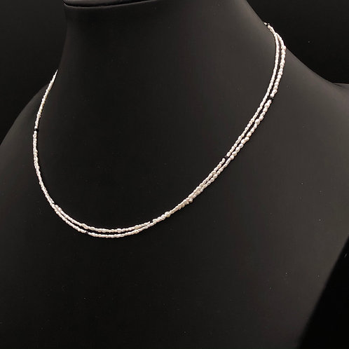 Double strand Keshi pearl and Black Spinel Necklace