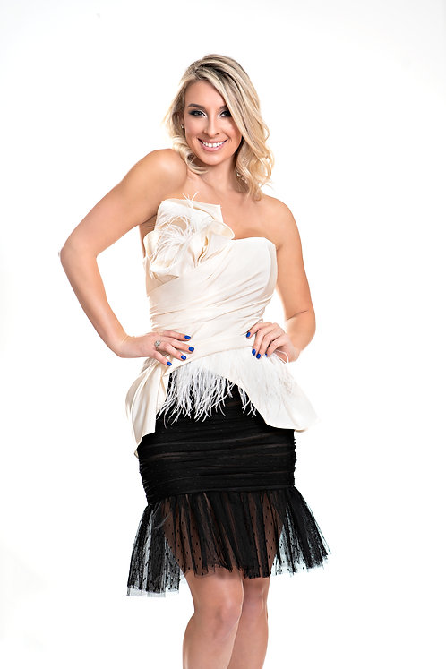 Strapless Draped Feather Dress Front View