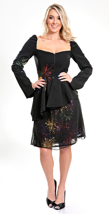 Firework Sequin Jacket and Skirt Front View