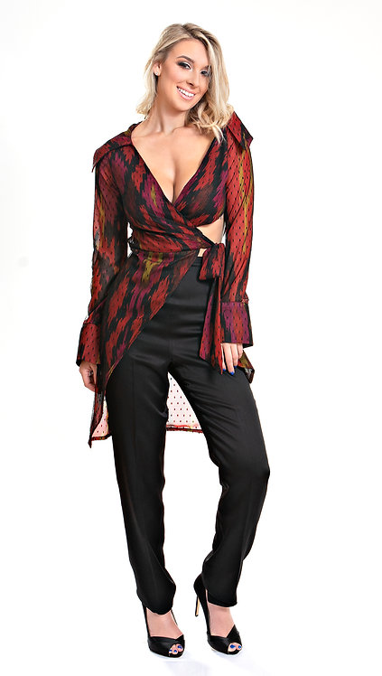 Mesh Patterned Top and Silk Pant Front View