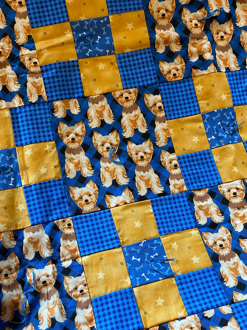 Blue and Yellow Yorkie Lap Quilt