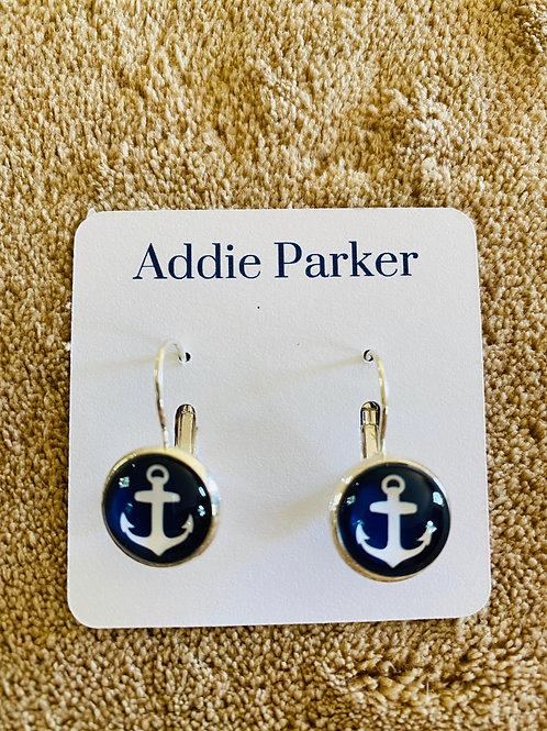 Navy Blue Anchor Earrings