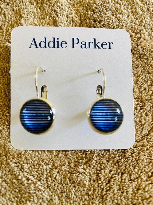Blue Striped Earrings