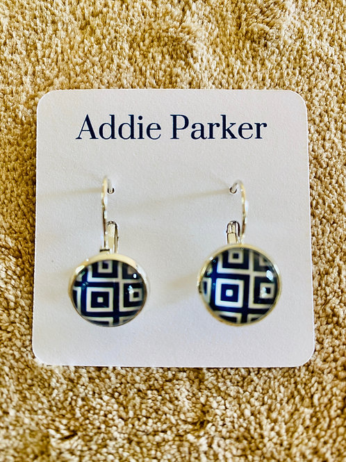 Navy Blue and White Square Earrings