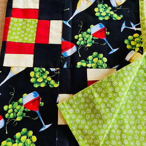 Red and Green Wine Table Runner