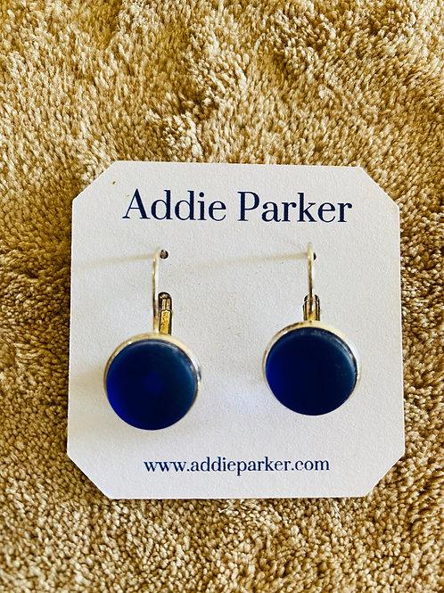 Dark Blue Sea Glass Earrings