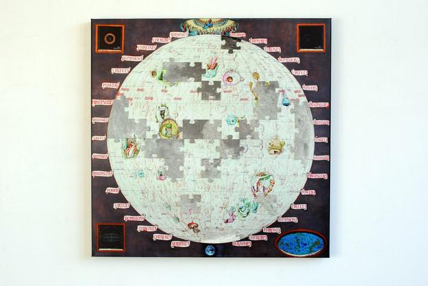David Redfern b. 1947 'Lunar Landings', made in 2019, 86 x 86 cms