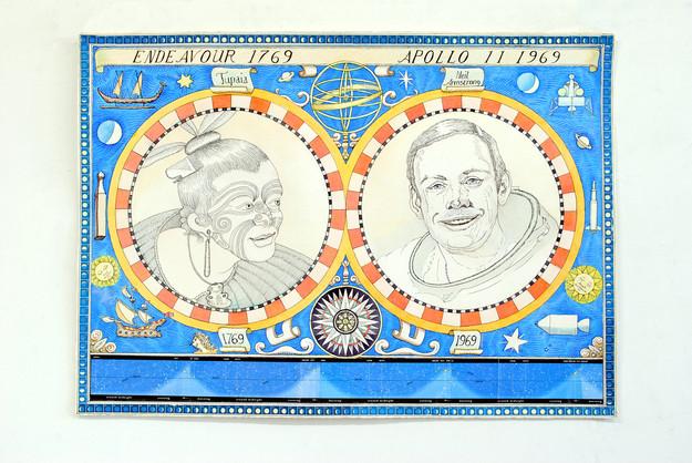 David Redfern (b. 1947) '1769-1969: The Astral Navigators', made in 2019, 50 x 70 cms
