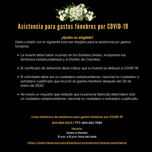 Assistencia para gastos funebres por COV