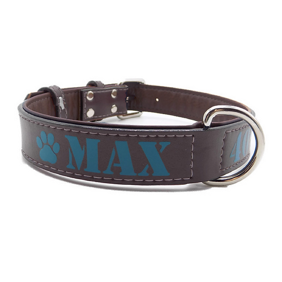 Matte Brown Personalized Padded Leather Dog Collar