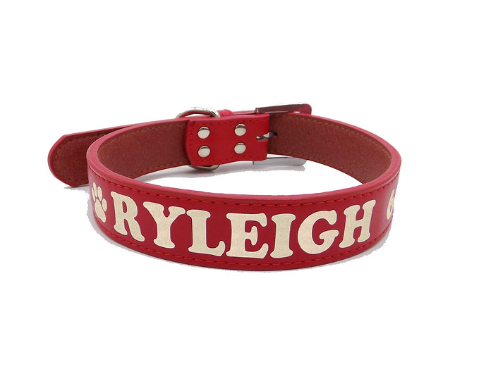 Glitter Red Personalized Classic Leather Dog Collar