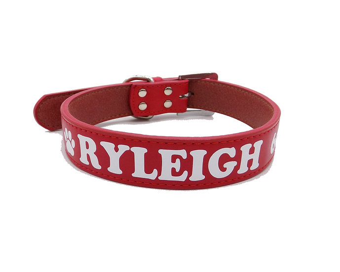 Matte Red Personalized Classic Leather Dog Collar