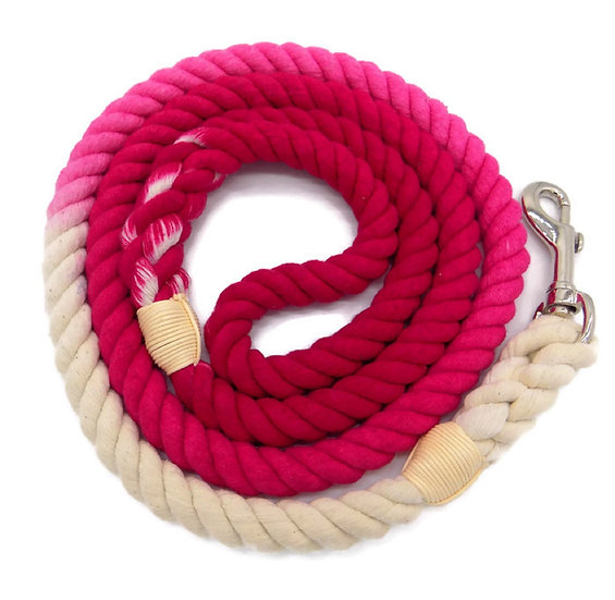 Rose Pink 5ft Ombre Cotton Rope Dog Leash