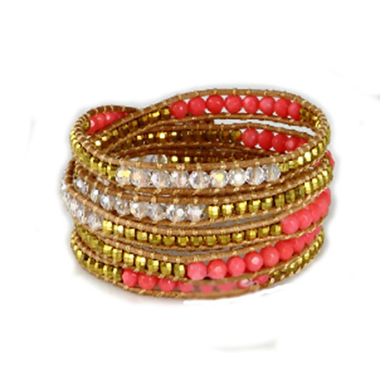 """Five Layer Pink Leather Wrap Bracelet With Natural Stone Beads 34""""-36"""""""