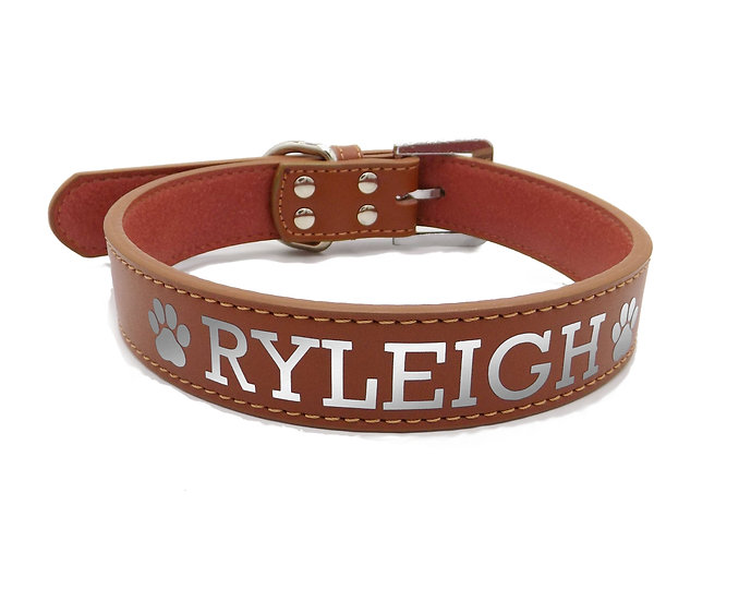 Reflective Brown Personalized Classic Leather Dog Collar