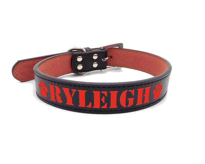 Matte Black Personalized Classic Leather Dog Collar