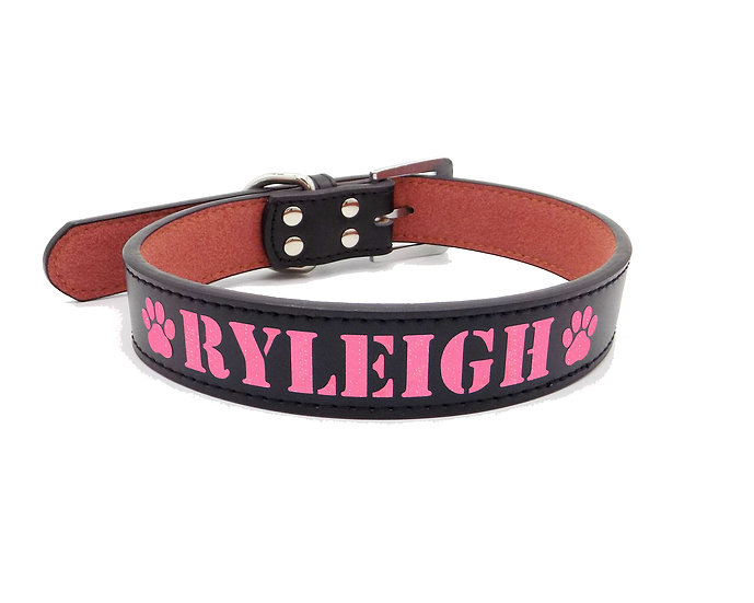 Glitter Black Personalized Classic Leather Dog Collar
