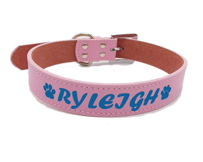 Matte Pink Personalized Classic Leather Dog Collar