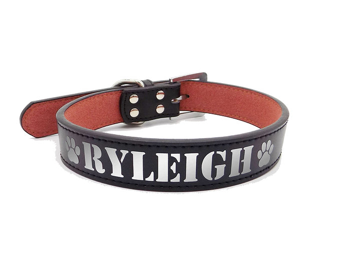 Reflective Black Personalized Classic Leather Dog Collar