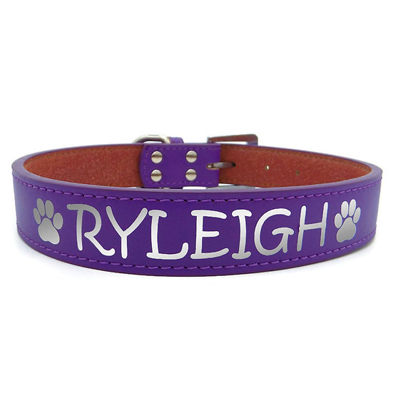 Reflective Purple Personalized Classic Leather Dog Collar