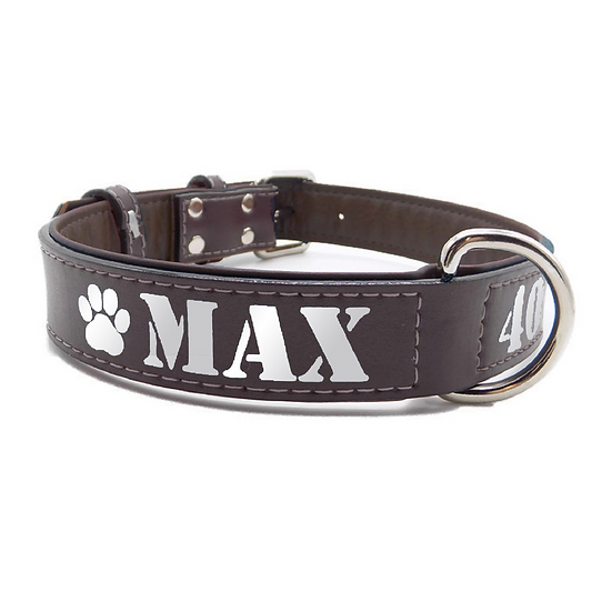 Reflective Brown Personalized Padded Leather Dog Collar