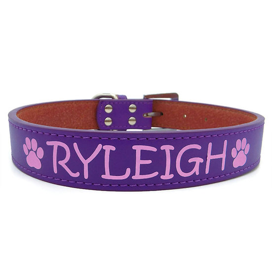 Matte Purple Personalized Classic Leather Dog Collar