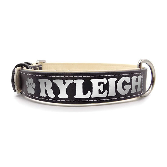 Reflective Black Personalized Padded Leather Dog Collar