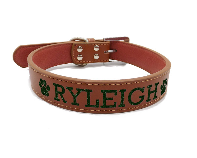 Glitter Brown Personalized Classic Leather Dog Collar