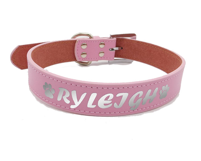 Reflective Pink Personalized Classic Leather Dog Collar