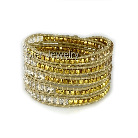 "Five Layer Golden Leather Wrap Bracelet With Natural Stone Beads 34""-36"""