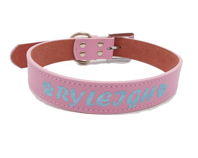 Glitter Pink Personalized Classic Leather Dog Collar